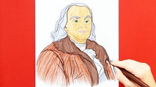 How to draw and color Benjamin Franklin