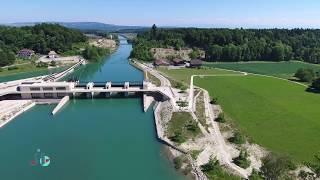 Wasserkraftwerk, Bielersee - Hydroelectric power station, Bielersee - Switzerland 4k