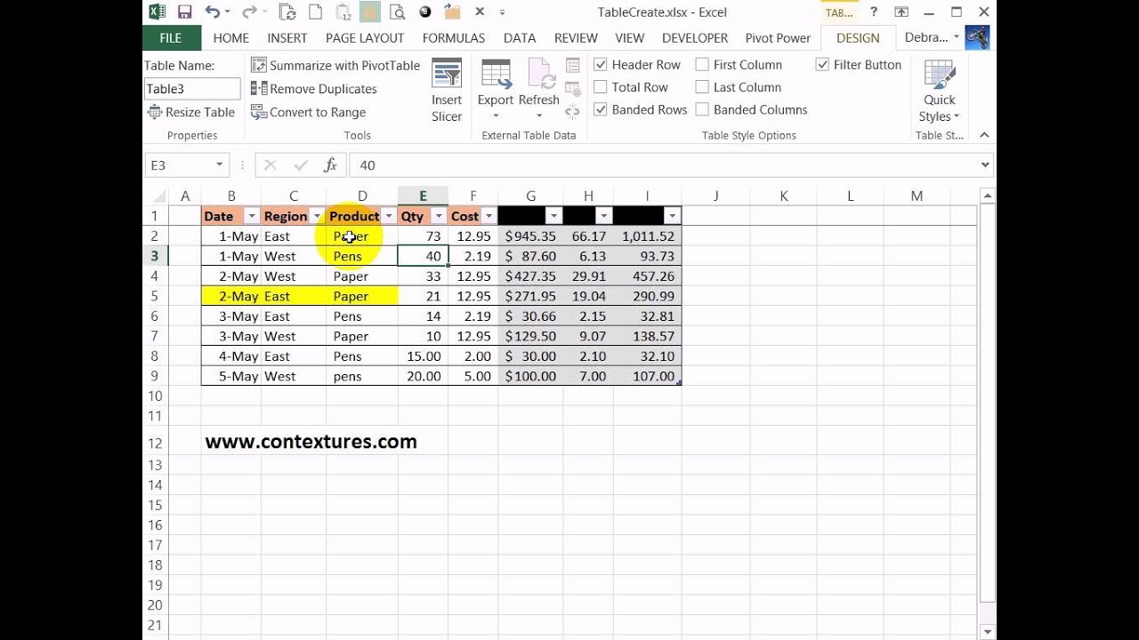 Create an excel table with a specific style applied youtube for Excel table design
