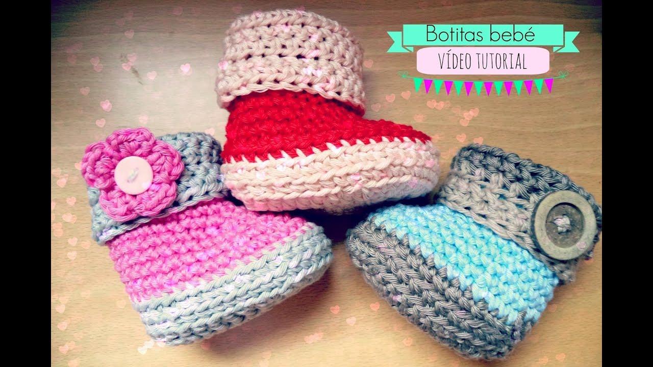 Como hacer unas botitas de bebé de ganchillo - Crochet baby Booties ...