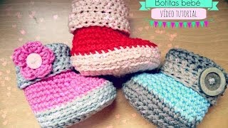 Repeat youtube video Como hacer unas botitas de bebé de ganchillo - Crochet baby Booties