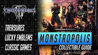 Kingdom Hearts 3 - Monstropolis Collectible Guide - All Treasures, Lucky Emblems and Games