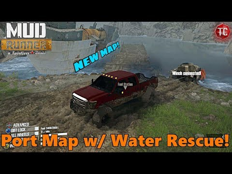 SpinTires Mud Runner: NEW Shipping Port Map w/ Water Rescue and Full Exploration