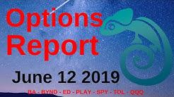 Options Report - June 12, 2019   Market Chameleon BA - BYND - ED - PLAY - SPY - TOL - QQQ