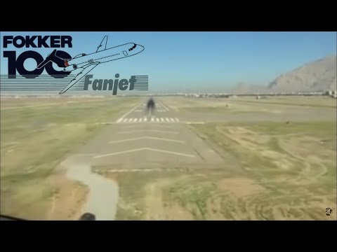 Cockpit | KishAir Fokker 100 | Landing At Kermanshah with ATC
