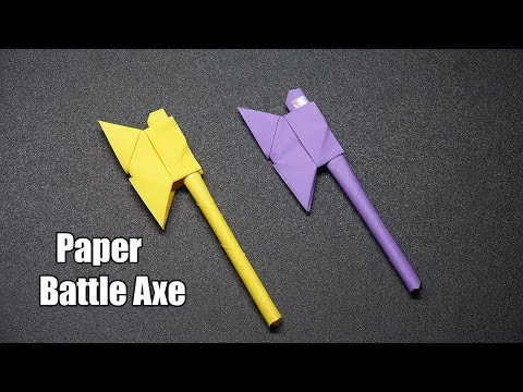 How to Make a Paper Battle Axe -  Easy Origami Tutorial - DIY  Paper Crafts
