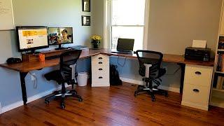 Floating Corner Computer Desk | HUGE, Fits 2 People Easy!