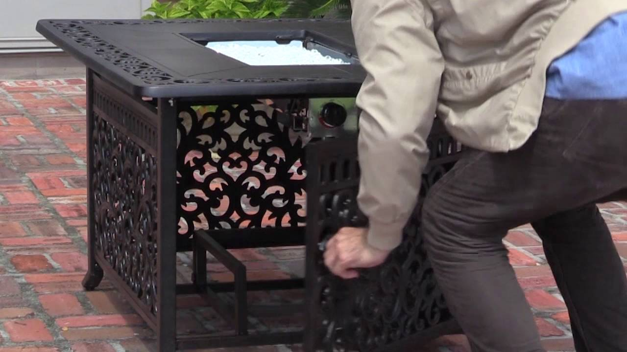 Sedona Cast Aluminum Rectangular LPG Fire Pit Item Number - Cast aluminum gas fire pit table