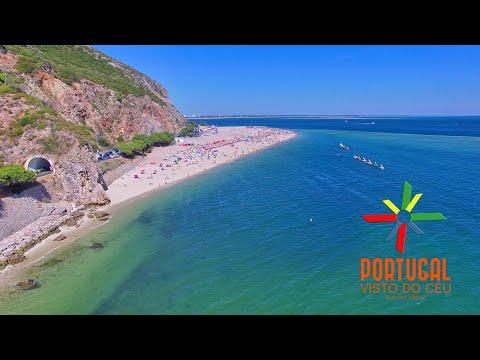 Portinho da Arrabida , Praia do Creiro & Praia da Figueirinha aerial view-4K Ultra HD
