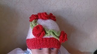 Детская шапочка!Вязание для начинающих.Baby Beanie!knitting(ВЯЗАНИЕ ДЛЯ НАЧИНАЮЩИХ! ШАПОЧКА ДЛЯ ДЕВОЧКИ! В этом видео я покажу как просто и быстро связать на спицах..., 2015-08-28T14:33:57.000Z)