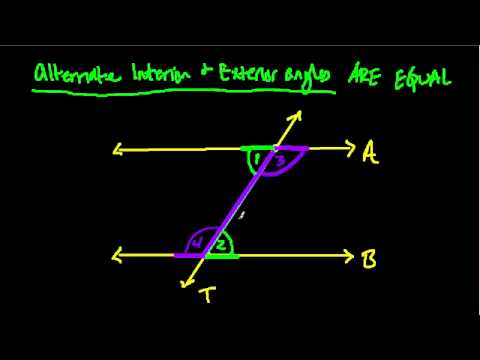 Alternate interior and exterior angles proof youtube - Definition of alternate exterior angles ...
