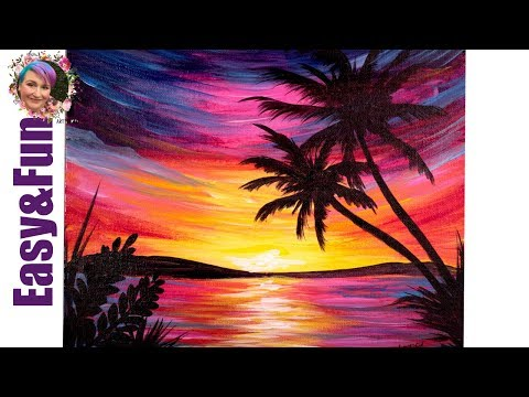 Easy Painting in acrylic Paradise Sunset Step by step ...