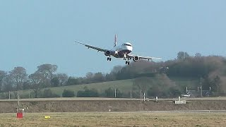 Amazing Windshear landings Edinburgh Airport 2016  {Storm Henry}