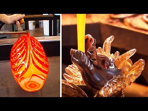 CREATING AMAZING GLASS SCULPTURES | GLASS BLOWING COMPILATION