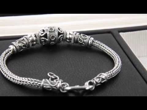 New Solid Sterling Silver 925 Mark Bali Beaded Bracelet Suarti Style Bead Bangle