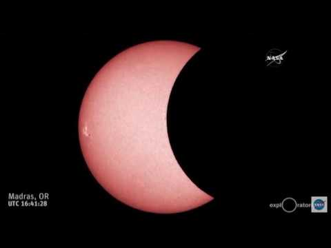 A time lapse of the 2017 solar eclipse moving across Oregon