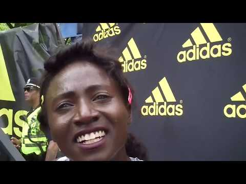Tori Bowie after winning 100 at 2018 adidas Boost Boston Games