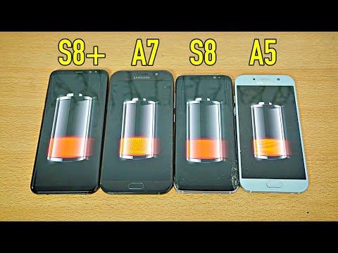Samsung Galaxy S8 Plus vs A7 2017 vs S8 vs A5 2017 - Battery Drain Test!