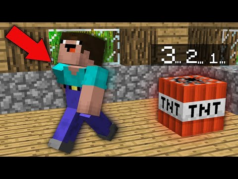 Minecraft NOOB Vs PRO: WILL THE NOOB HAVE TIME TO ESCAPE FROM TNT IN 3 SECONDS? 100% Trolling