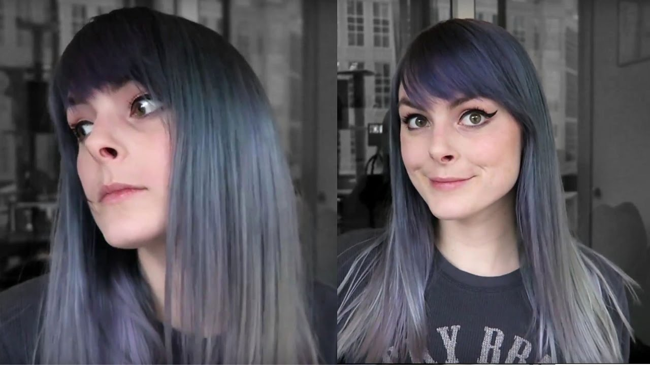 dyeing my hair steel grey lunar tides dye review youtube