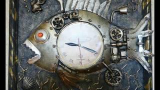 Стимпанк коллажи-интерьерные часы