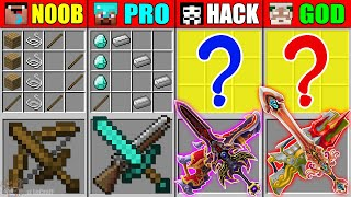 Minecraft NOOB vs PRO vs HACKER vs GOD ABILITY SWORD GUN CRAFTING CHALLENGE in Minecraft Animation