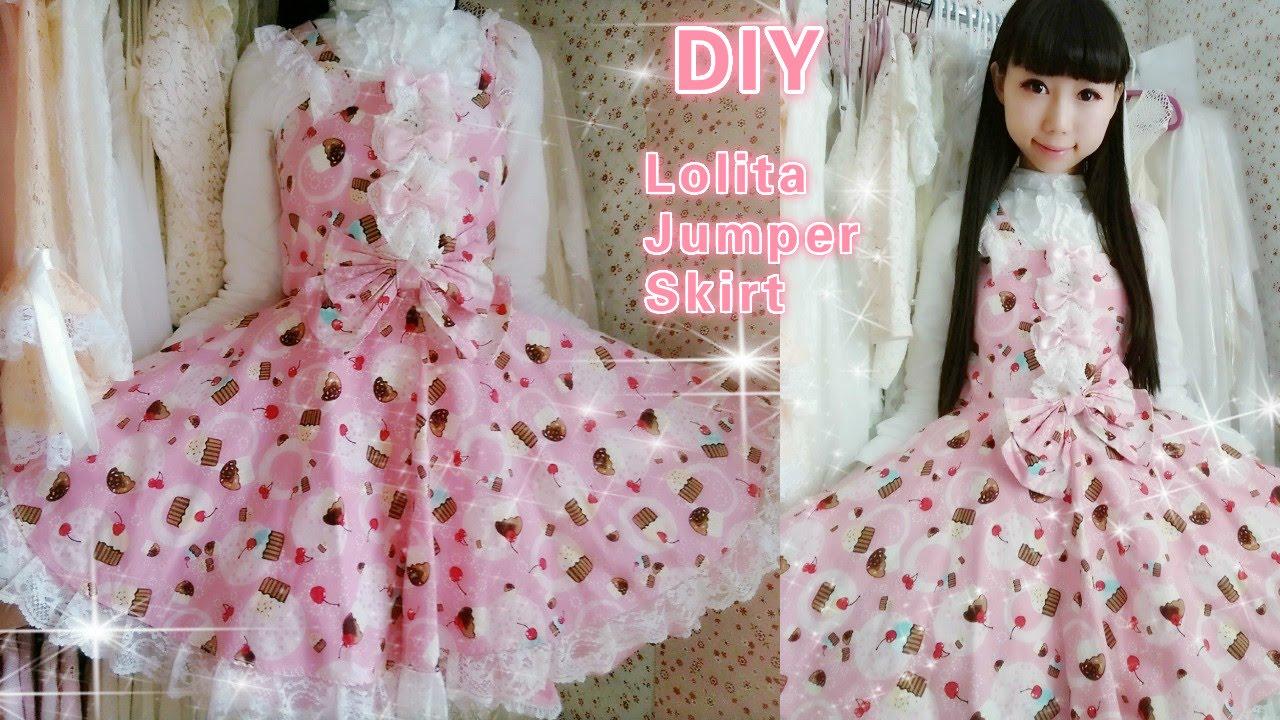 Diy sew a cute cupcake lolita jumper skirt in 2 hourseasy for diy sew a cute cupcake lolita jumper skirt in 2 hourseasy for school youtube jeuxipadfo Images