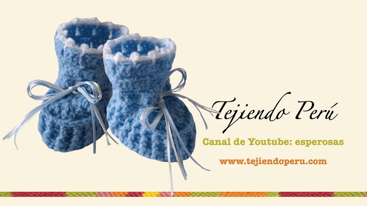 Zapatitos para bebé en crochet (Parte 1) - Tejiendo Perú - YouTube
