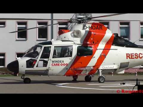 [HD] NHC 02 , Offshore Rescue Helicopter start at Hospital Stralsund