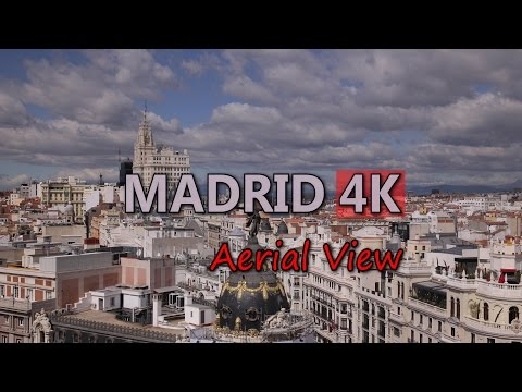 Ultra HD 4K Madrid Travel Spain Tourism Aerial View Tourist Attraction Sight UHD Video Stock Footage