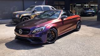 Mercedes C63s AMG   Carwrap Rolling Thunder colorflow