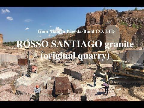 Rosso Santiago granite. Video from the original quarry.
