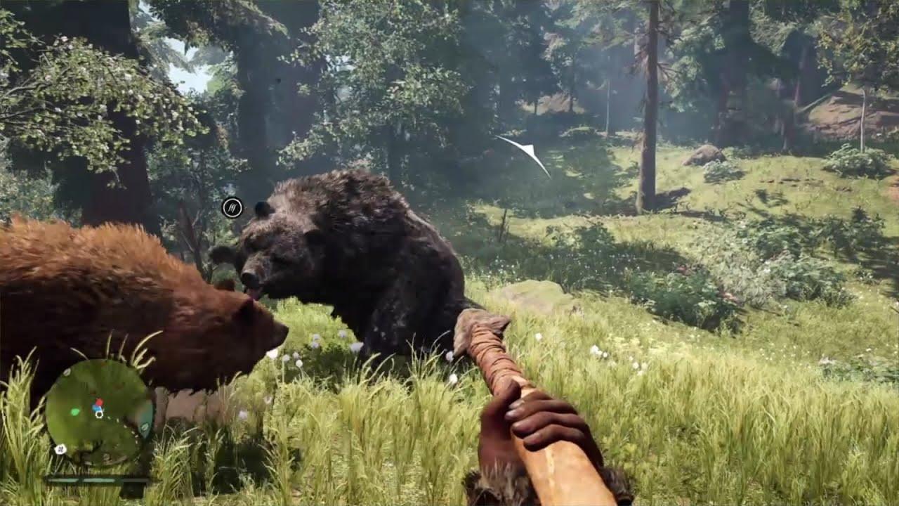 Far Cry Primal Brown Bear Vs Cave Bear Youtube