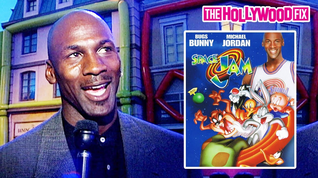 Michael Jordan Speaks On Filming Space Jam With Bugs Bunny At The 1996 Movie Premiere In Hollywood