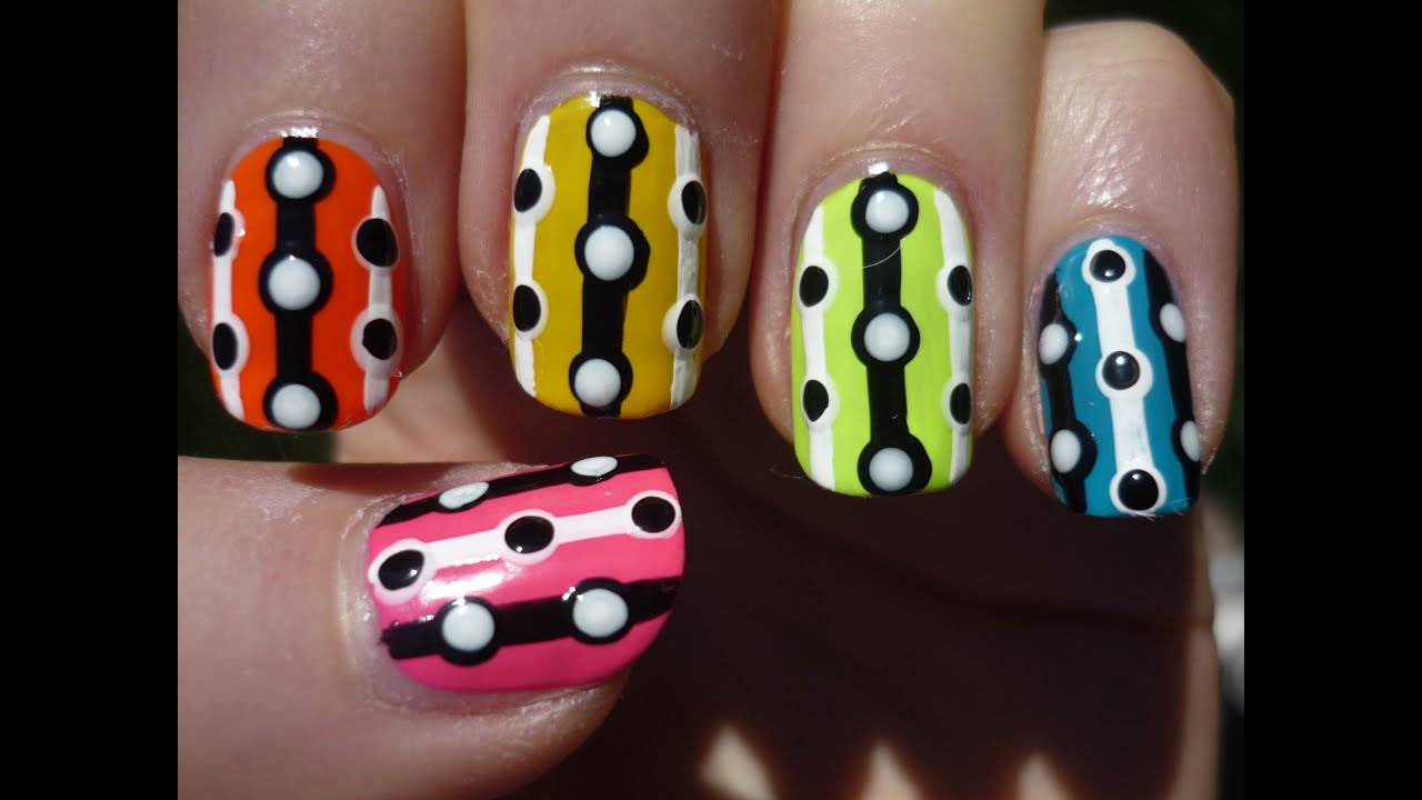 easy neon lines and dots nail art