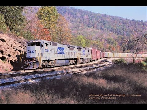 Chessie/CSX working hard at Mance curve, Sand Patch grade. 1990