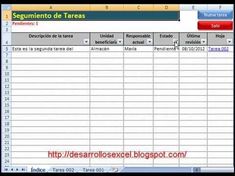 Aplicativo en Excel para el seguimiento de tareas - YouTube