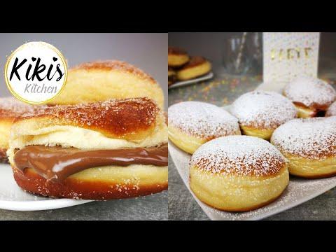 Berliner / Kreppel / Krapfen - gelingsicheres Rezept | Berliner Pfannkuchen mit Marmelade & Nutella