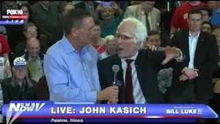 MUST WATCH: Bernie Sanders Impersonator HIJACKS John Kasich Event - FNN