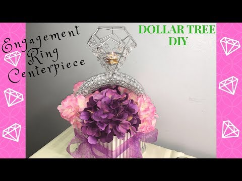 DOLLAR TREE DIY   ENGAGEMENT RING CENTERPIECE   PARTY DECOR   PARTY PROPS   WEDDING DECOR