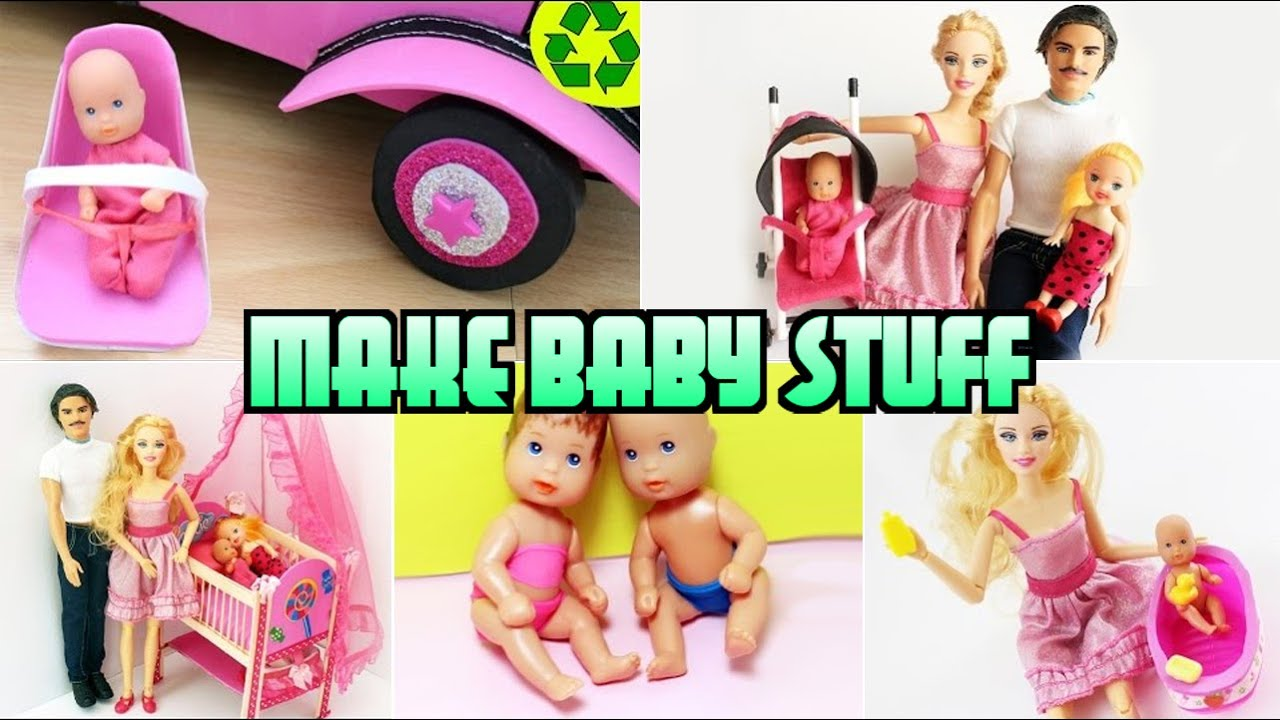 Compilation 5 Barbie Baby Crafts DiaperBathtubCribCar Seat Stroller