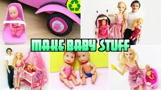 Compilation 5 Barbie Baby Crafts [Diaper,Bathtub,Crib,Car Seat, Stroller]