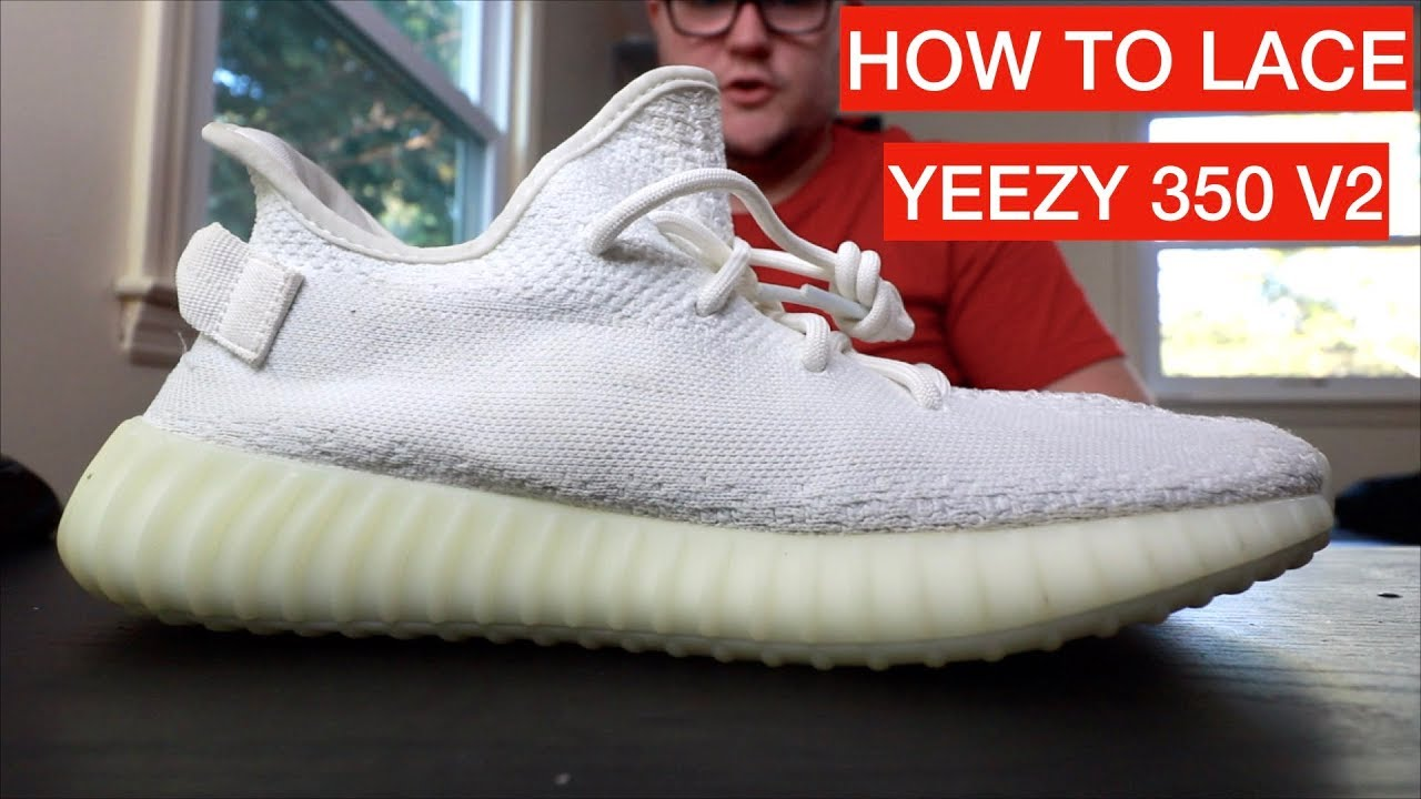 TO LACE YEEZY 350 BOOST V2 TRIPLE WHITE