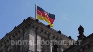 CLIP #1033 / Tower of Building Reichstag with german flag | digitalfootage.net