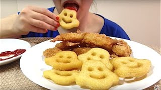 ASMR Crunchy Shrimp & Smiley 'Ghost' Fries (Eating Show) Mukbang! *Fast Forward Eating*