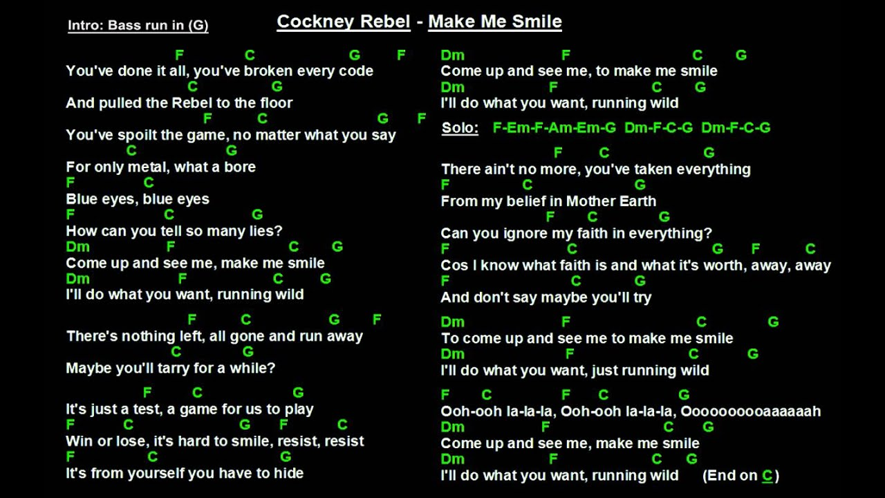 Cockney Rebel Make Me Smile Backing Track With Guitar Chords And