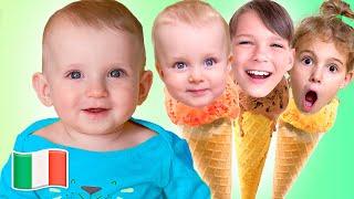 Cinque Bambini giocano con i giocattoli di gelato