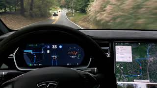 1 LANE BRIDGE + CURVES | TESLA Self Driving AutoPilot TEST | AP2 2018.39.6 | Vid 037