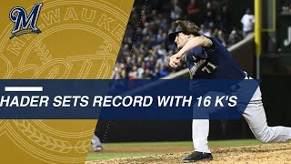 Hader sets MLB record with 16 straight strikeouts