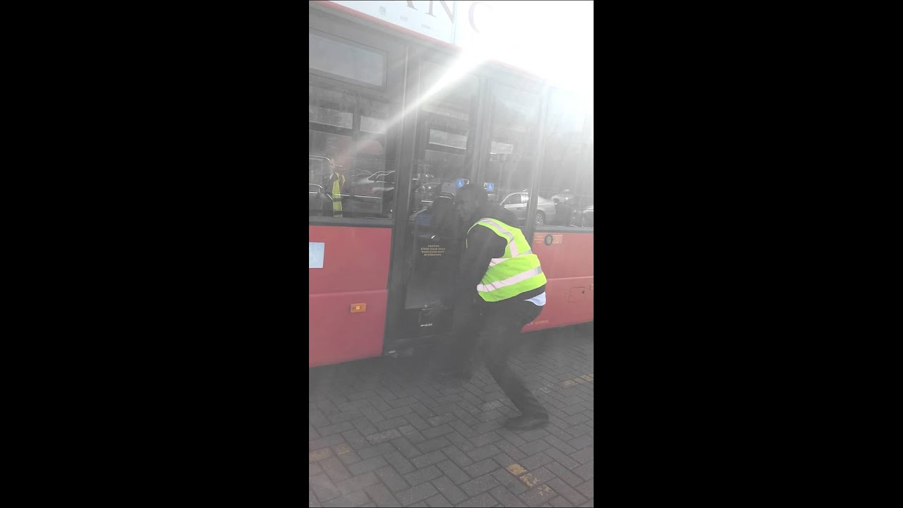 Stocky Bus Driver Can't Open Emergency Hilarious
